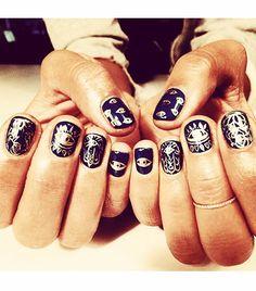 "Hannah Bronfman  ""These are hand painted @Maurício Kenzo Yamasaki inspired nails by@ciaomanhattan2012  #hamsa #vishnu #t"