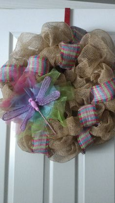 Spring Inspired Burlap Colored Deco Mesh Wreath by MisSuenos, $30.00