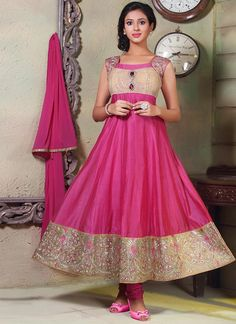 Pink Chanderi Cotton Anarkali Suit