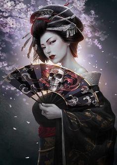 Yichuan Li, aka rikelee is a professional concept artist based in Shanghai, China. From Japanese Geisha, warrior to charming fantasy subjects, Rike's work Digital Art Fantasy, Fantasy Art Women, Japanese Artwork, Japanese Tattoo Art, Kabuto Samurai, Arte Ninja, Geisha Art, Geisha Anime, Samurai Artwork