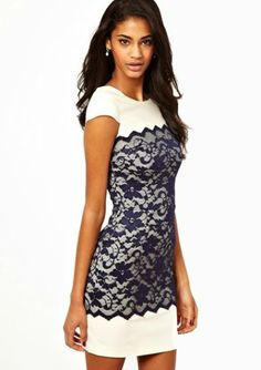 White Short Sleeve Contrast Lace Bodycon Dress