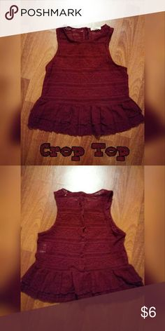 Burgundy Lace Red Festival Style Peplum Crop Top Adorable, unique and ready for your next festival or trip to the mall. This crop top can do it all! The Peplum style puts an unexpected chic touch to any distressed denim shorts. Sheer lace and button back adds a just a little sexy.   Gently worn. No rips, tears, discoloration or notable signs of wear. Buttons on back are slightly rippled as seen in pic, but unnoticeable on.   Check out my closet for bundles and freebies! LA Hearts Tops Crop…