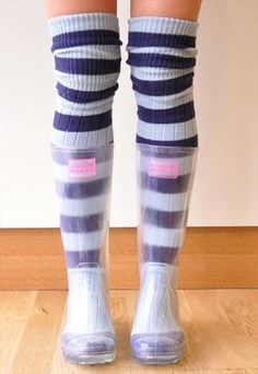 Festival Outfit Transparent Festival Wellies with Blue Stripe Socks Transparent Festival Wellies with Blue Stripe Socks Clear Rain Boots, Festival Wellies, Wellies Boots, Jelly Shoes, Thigh High Socks, Cute Socks, Striped Socks, Country Outfits, Rain Wear