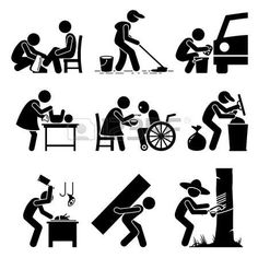 pictogram people: Odd Jobs - Shoe Shine, Janitor, Car Wash, Babysitter, Elderly Care, Garbage Collector, Butcher, Hard Labor, and Rubber Tapper - Stick Figure Pictogram Icons
