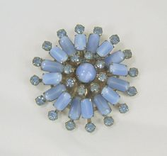 Vintage Brooch Star Snowflake Blue Moonstone by ReVampingVintage
