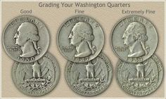 Grading Silver Washington Quarters List of quarters worth to 1963 Old Coins Worth Money, Old Money, Old Coins Value, Valuable Coins, Coin Worth, American Coins, Error Coins, Coin Values, Coin Grading