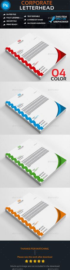 This is a CorporateLetterhead. This template download contains a 300 dpi print-ready CMYK psd files. All main elements are editabl