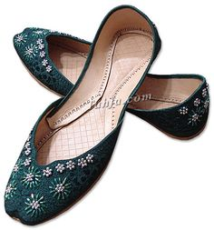 Ladies Khussa- Dark Green   | Pakistani Indian Khussa Shoes