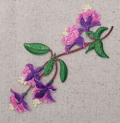 Iron On Embroidered Applique Patch Fuchsia Flowers Ladys Eardrop Pink Purple LG