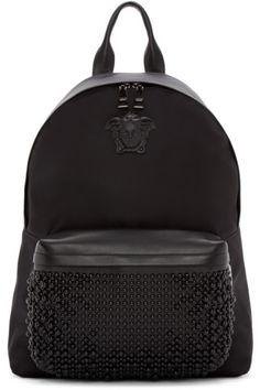 Versace - Black Nylon Studded Backpack Source by mickdube Versace Backpack, Versace Bag, Versace Handbags, Studded Backpack, Backpack Bags, Leather Backpack, Cute Mini Backpacks, Men's Backpacks, Fashion Bags