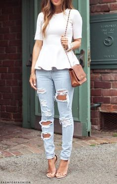 Opt for a white peplum top and light blue destroyed slim jeans for an effortless kind of elegance. Dress up this look with beige leather heeled sandals.   Shop this look on Lookastic: https://lookastic.com/women/looks/peplum-top-skinny-jeans-heeled-sandals-crossbody-bag-bracelet-watch/10781   — White Peplum Top  — Silver Bracelet  — White Watch  — Brown Leather Crossbody Bag  — Light Blue Ripped Skinny Jeans  — Beige Leather Heeled Sandals