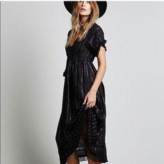 Free People Rose Gold Lurex Maxi Dress - Black Xs