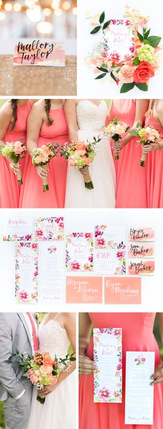 Coral and peach wedding invitation inspiration. This completely custom stationery suite featured bold flowers, white brush lettering calligraphy, matching stamps, and gold accents. For brides who love bold color in their wedding stationery.