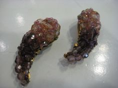Coppola&Toppo Pink and Lilac Crystal Bead Clip-on Earrings 1960's $245 Feb 2014