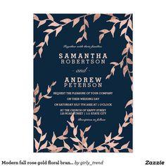 Modern fall rose gold floral branch navy wedding invitation