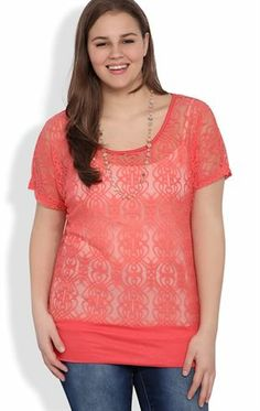 Deb Shops Plus Size Short Sleeve Lace Top with Banded Bottom and Necklace $12.50