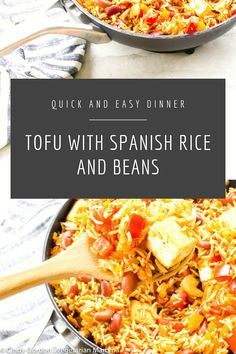 Tofu with Spanish Rice and Beans - This double protein dish (tofu + beans) packs. - Tofu with Spanish Rice and Beans – This double protein dish (tofu + beans) packs a fun punch of f - Rice And Beans Recipe Vegetarian, Vegetarian Casserole, Tofu Recipes, Bean Recipes, Vegan Recipes Easy, Vegetarian Recipes, Dinner Recipes, Free Recipes, Delicious Recipes