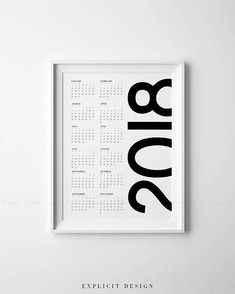 """Printable Year Wall Calendar, Minimalist Affiche, Bold 2018 Planner, Simple Vertical Print, Minimal Downloadable Decor, Instant Download.  INSTANT DOWNLOAD This listing is for a DIGITAL FILE of this artwork. No physical item will be sent. You can print the file at home, at a local print shop or using an online service.  INCLUDED FILES 1. High resolution JPG file in 2:3 ratio for printing the following sizes: - 4""""x6"""" - 8""""x12"""" - 12""""x18"""" - 16""""x24"""" - 20""""x30"""" - 24""""x36""""  2. High resolution JPG…"""