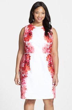 Calvin Klein Floral Side Sheath Dress (Plus Size) available at #Nordstrom