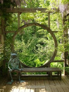 """""""Moon gate""""-esque wooden window on deck (by Karl Gercens)"""