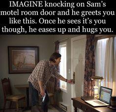 (Sam sets the gun aside and holds you.) Sam: I'm so relieved you're back. You: I missed you. Supernatural Fanfiction, Supernatural Comic, Supernatural Imagines, Winchester Supernatural, Winchester Boys, Fluffy Puff, Bobby Singer, Love Puns, Sander Sides