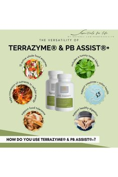 We all love the Lifelong Vitality supplements. Do you know about LLV's partners in crime? Today, we are going to focus on 2 more essential supplements that have our dōTERRA peeps ranting and raving: TerraZyme Digestive Enzyme Complex and PB Assist+ Probiotic Defense Formula. 1️⃣ TerraZyme are digestive enzymes specialized proteins that act as catalysts for cellular function and play a critical role in growth, healing, reproduction, breathing, thinking, immune function, hormone regulation and