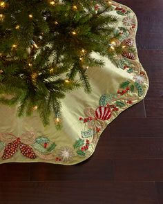 Frosted Pine Tree Skirt by Kim Seybert at Neiman Marcus.