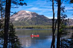 Canoeing on Lake Mary in the Mammoth Lakes Basin area of the Eastern Sierras.