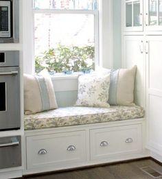 Kitchen window seat with storage below. by violet