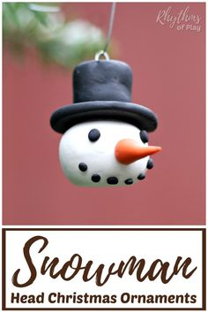 DIY Snowman Head Ornaments Craft - It's time to decorate your Christmas tree with these adorable, ha Diy Snowman, Snowman Ornaments, Handmade Ornaments, Diy Christmas Ornaments, Holiday Crafts, Holiday Fun, Clay Christmas Decorations, Glitter Ornaments, Felt Christmas