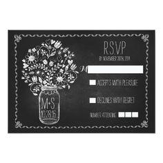 Mason Jar Wedding Invitations floral mason jar chalkboard wedding RSVP cards