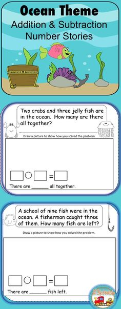 Word Problems/Number Stories: This packet contains ten number word problems for students to solve by answering addition and subtraction number stories.This activity addresses Common Core Standard K.OA.2 and 1.OA.2. Students will show their work by drawing pictures and writing equations to solve problems. Kindergarten Art Activities, Kindergarten Activities, Number Stories, Math Resources, Classroom Resources, Common Core Math, Ocean Themes, Drawing Pictures, Addition And Subtraction