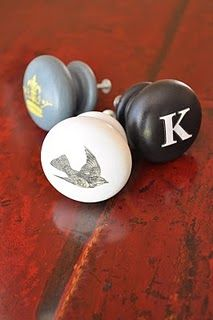 DIY customized knobs...this has SO many possibilities!  Give a dresser, your kitchen, bathroom, etc cabinets a facelift with some new knobs!  Great gift for newlyweds to make them some knobs with their initial.  Also, you could use bigger wooden knobs and put what it in the cabinet or drawer on the knobs!  I like that- labeling on a knob! (AD)