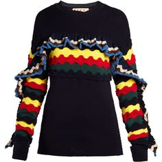 Marni Striped crochet ruffle-trimmed sweater (1,410 CAD) ❤ liked on Polyvore featuring tops, sweaters, navy blue top, blue crew neck sweater, blue striped sweater, navy crew neck sweater and striped sweater