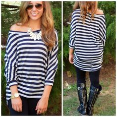 Glitter In My Veins Navy And Silver Striped Top   Amazing Lace