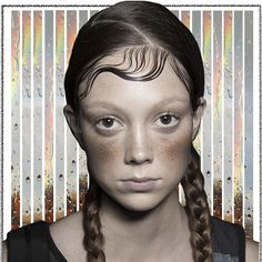 @chiaragallitto' Sketch inspired by DKNY s/s 15 hairstyle. Model: Natalie Westling http://www.coffeedential.co/chiara/a-runner-under-the-rain/ #babyhair #hairstyle #urban #colourfast
