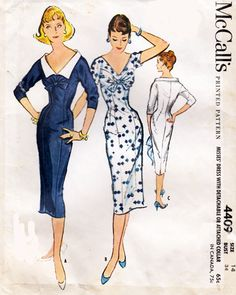 McCall's 4409 A Lovely curve hugging vintage wiggle dresses - McCall's Dress Making Patterns, Vintage Dress Patterns, Clothing Patterns, Vintage Dresses, Vintage Outfits, Mode Hollywood, 1950s Fashion, Vintage Fashion, Fashion Fashion