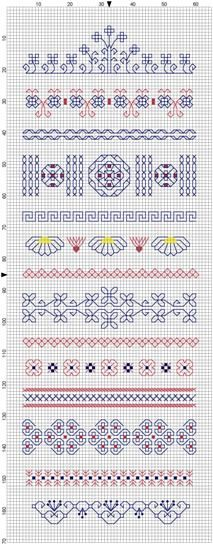I have created a blackwork band sampler. Altogether it is 65 x 170 stitches, so if you want to stitch it, this is how big your fabric needs . Blackwork Cross Stitch, Blackwork Embroidery, Embroidery Sampler, Cross Stitch Samplers, Cross Stitching, Cross Stitch Embroidery, Embroidery Patterns, Cross Stitch Boarders, Cross Stitch Designs