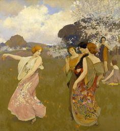 Spring Dance (ca. 1917).Arthur Frank Mathews (American, 1860-1945). Oil on canvas.Smithsonian American Art Museum.