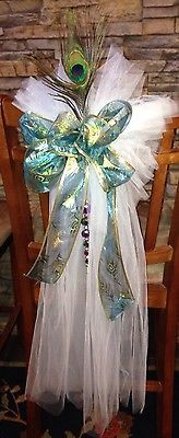 8 Tulle Wedding Pew Bow Decorations Peacock Feather Ribbon Blue Green  Purple Wedding Pew Decorations 24ce038ac8f77