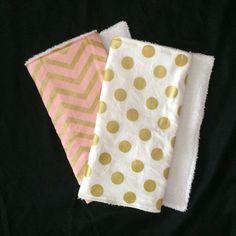 Pink White & Gold Chevron Dot Burp Cloth Set Burp by RandLBoutique