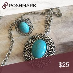 December Sale Beautiful Long  Necklace & Ring Beautiful Long Turquoise Necklace & Ring Jewelry Necklaces