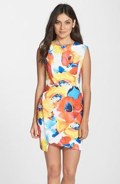 Clove Floral Print Wrap Detail Sheath Dress (Regular & Petite) (Nordstrom Exclusive) | Nordstrom