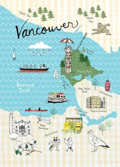 illustrated map of Vancouver BC