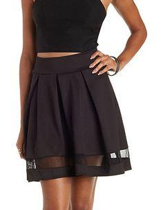 Pleated Mesh-Stripe Skater Skirt: Charlotte Russe