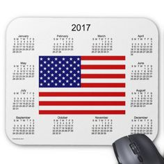 2017 USA Flag Calendar by Janz Mouse Pad