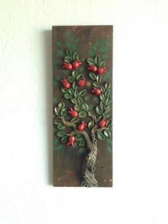 Ceramic art clay art pomegranate clay tree clay tree sculpture on wood ceramic tree housewarming decoration wall art wedding Art Clay, Clay Wall Art, Clay Crafts, Wood Crafts, Diy Wood, Housewarming Decorations, Blog Art, Grenade, Crafts With Pictures