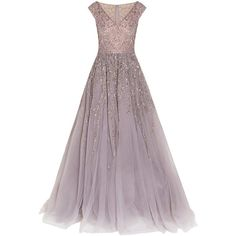 Georges Hobeika Embellished Tulle Gown ($11,750) ❤ liked on Polyvore featuring dresses, gowns, long dress, grey, grey dress, gray gown, gray dress, sequin tulle dress and grey evening dress