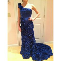 Royal blue gown Ruffled flower gown.  Absolutely gorgeous!! Tag says size 1/2...so a smaller 2, but not a 0. Perfect condition Dresses Prom