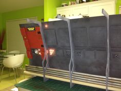 Colony on LV426 under construction, made from foamcore, dowels, LED lighting, paint, glue and printed designs.